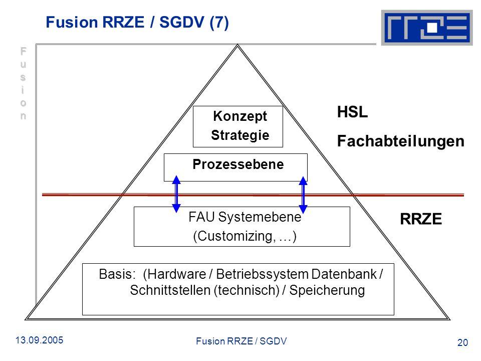 Fusion RRZE / SGDV (7) HSL Fachabteilungen RRZE Konzept Strategie
