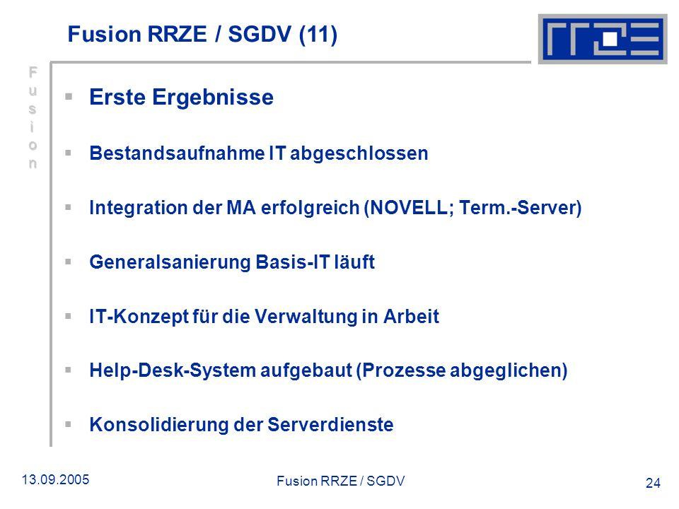 Fusion RRZE / SGDV (11) Erste Ergebnisse