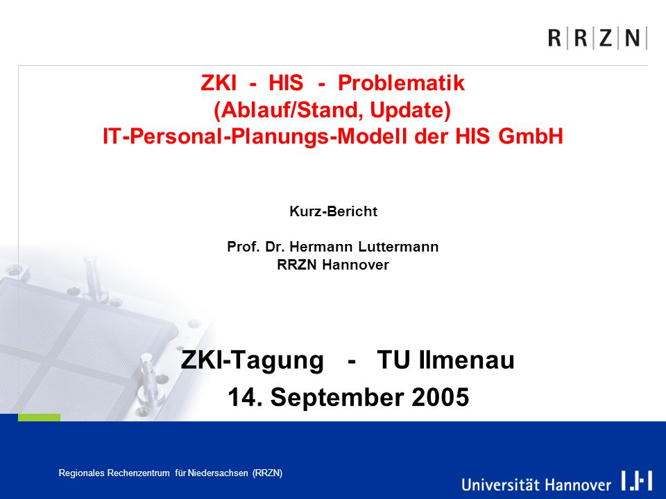 ZKI-Tagung - TU Ilmenau 14. September 2005
