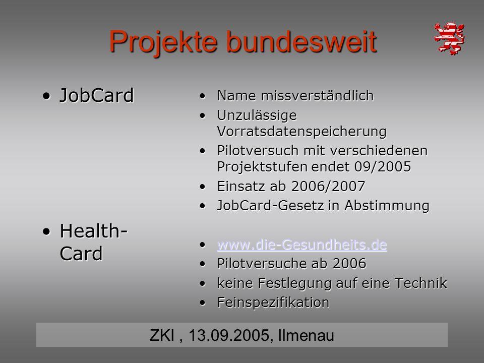 Projekte bundesweit JobCard Health-Card Name missverständlich