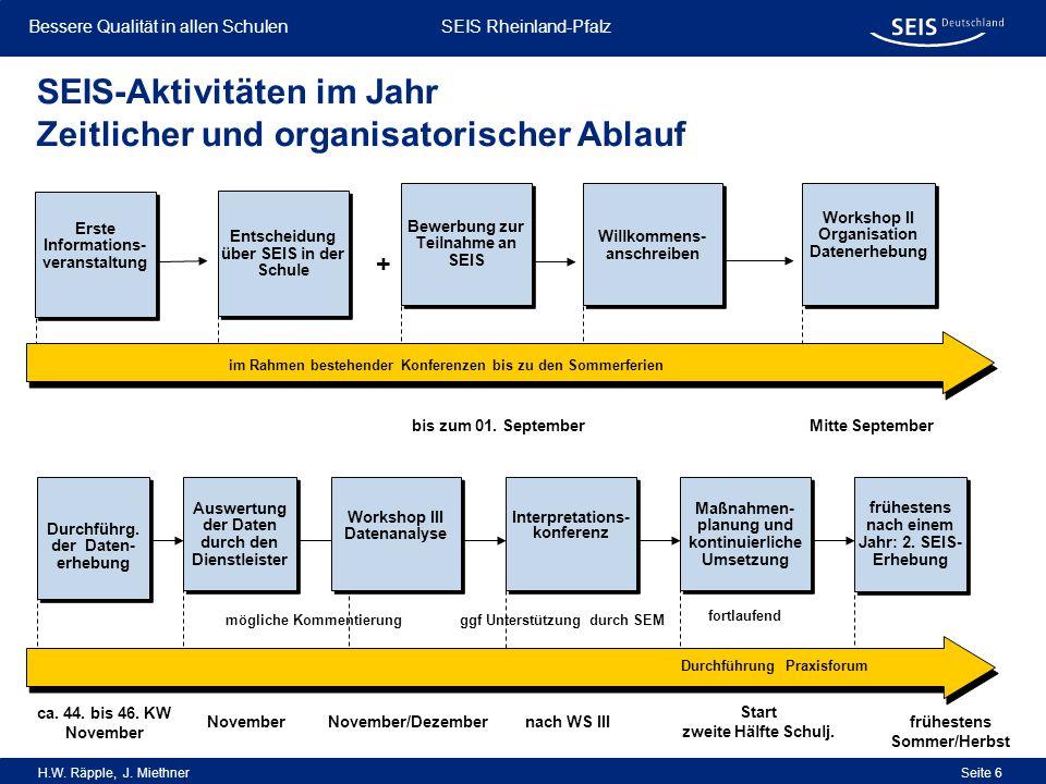 SEIS-Aktivitäten im Jahr Zeitlicher und organisatorischer Ablauf
