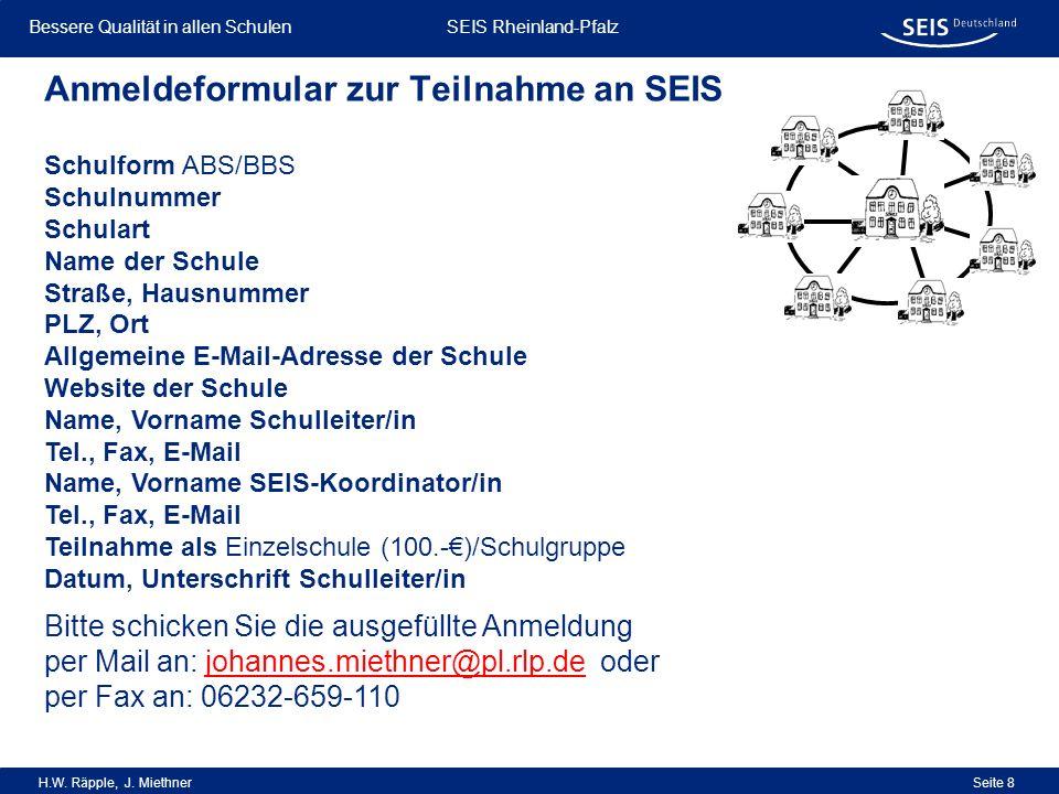 Anmeldeformular zur Teilnahme an SEIS