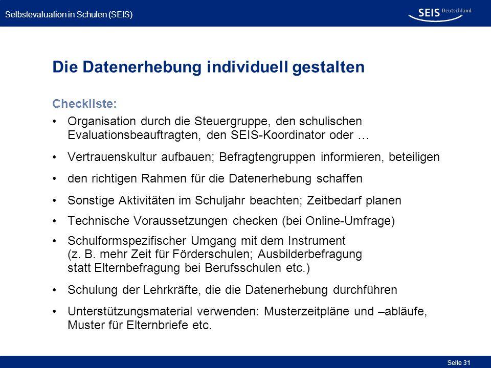 Die Datenerhebung individuell gestalten Checkliste: