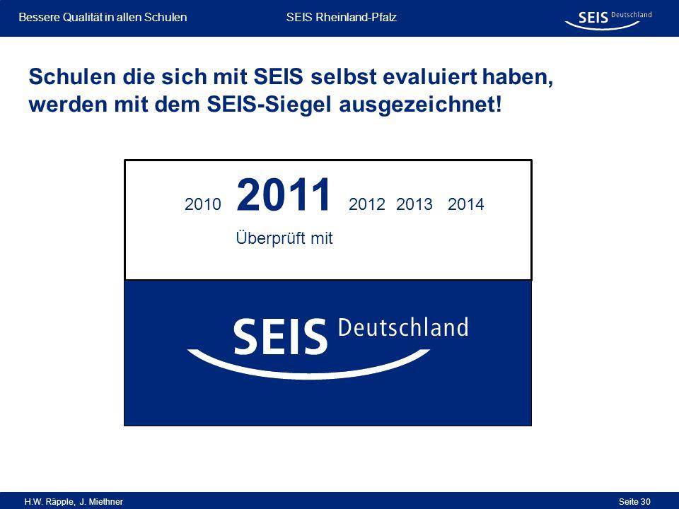 Schulen die sich mit SEIS selbst evaluiert haben, werden mit dem SEIS-Siegel ausgezeichnet!