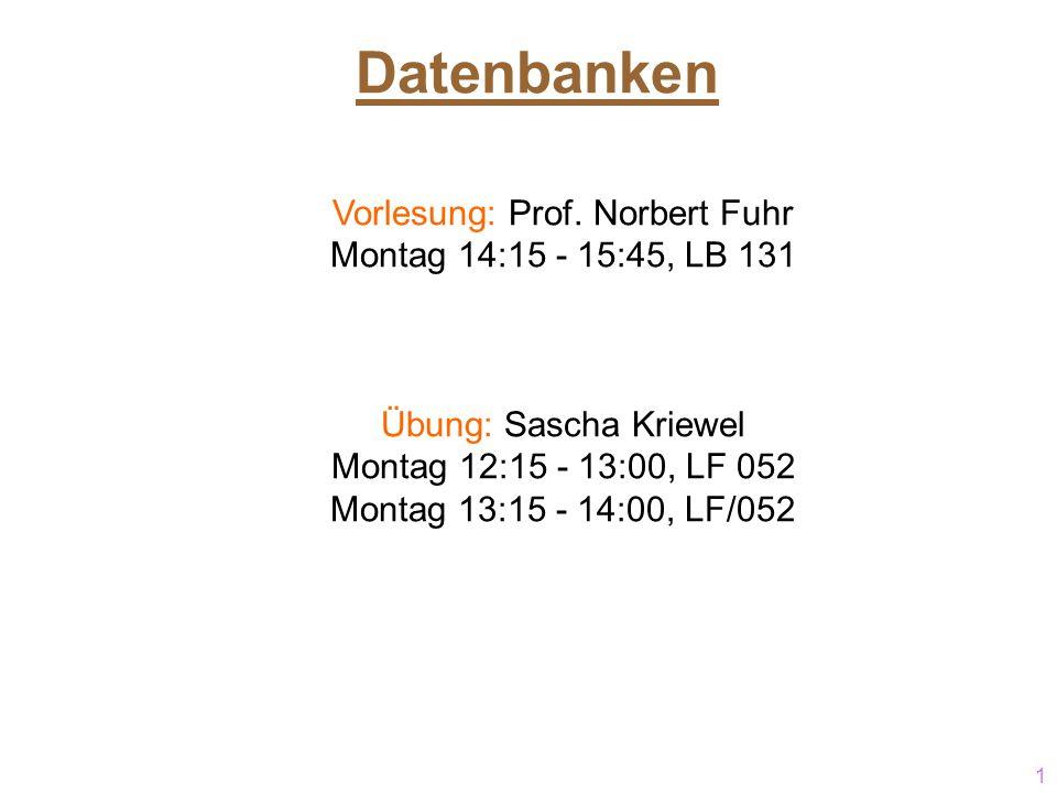 Vorlesung: Prof. Norbert Fuhr