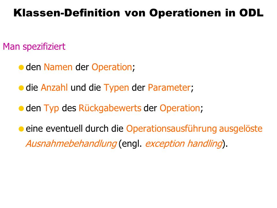 Klassen-Definition von Operationen in ODL