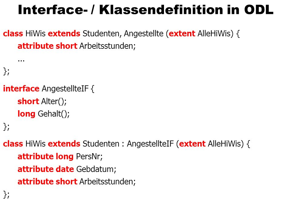 Interface- / Klassendefinition in ODL