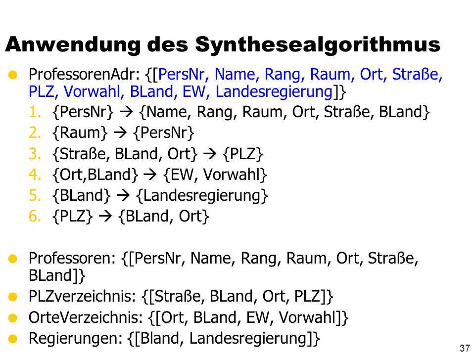 Anwendung des Synthesealgorithmus