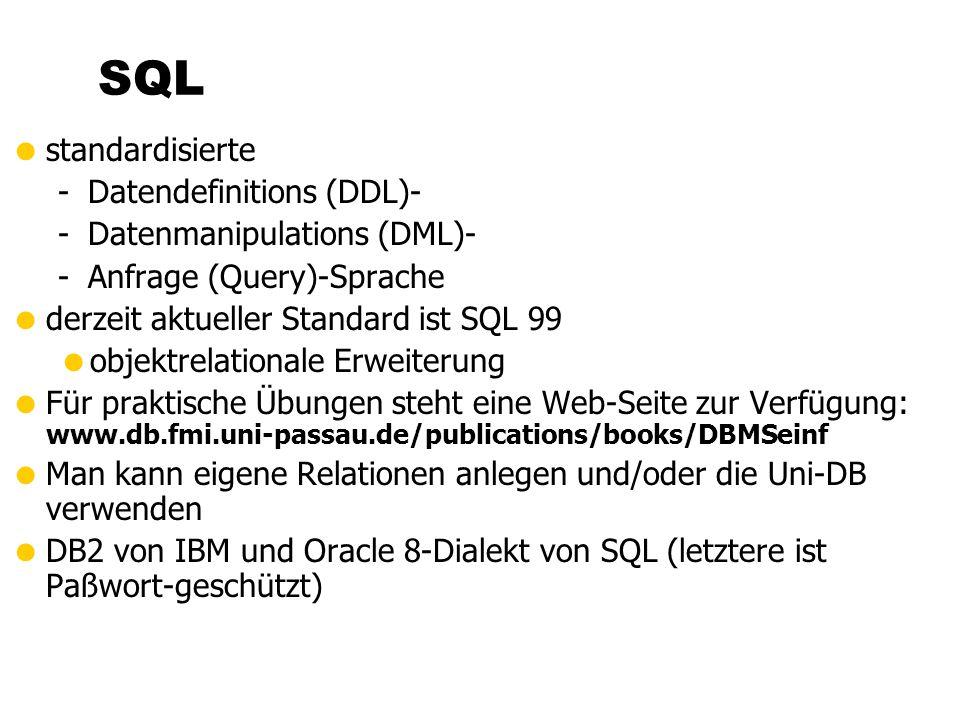 SQL standardisierte Datendefinitions (DDL)- Datenmanipulations (DML)-