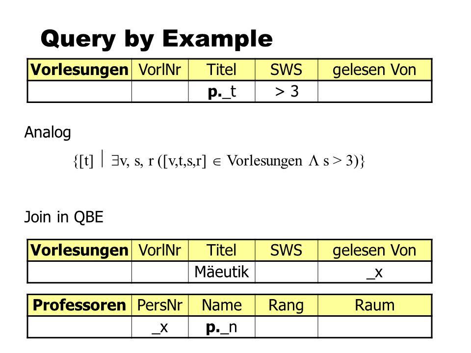 Query by Example Vorlesungen VorlNr Titel SWS gelesen Von p._t > 3