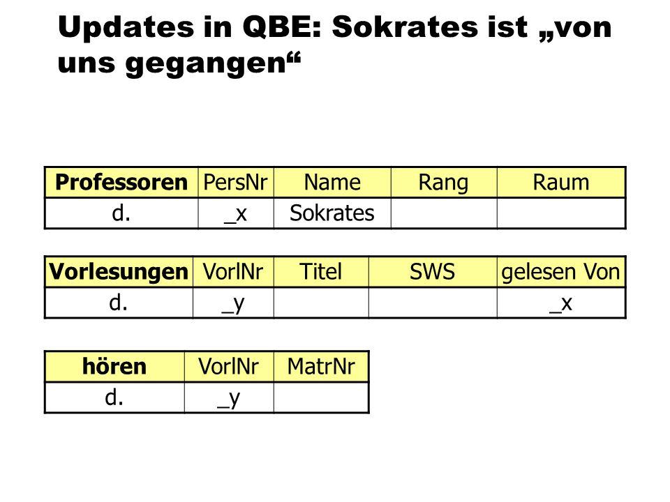 """Updates in QBE: Sokrates ist """"von uns gegangen"""