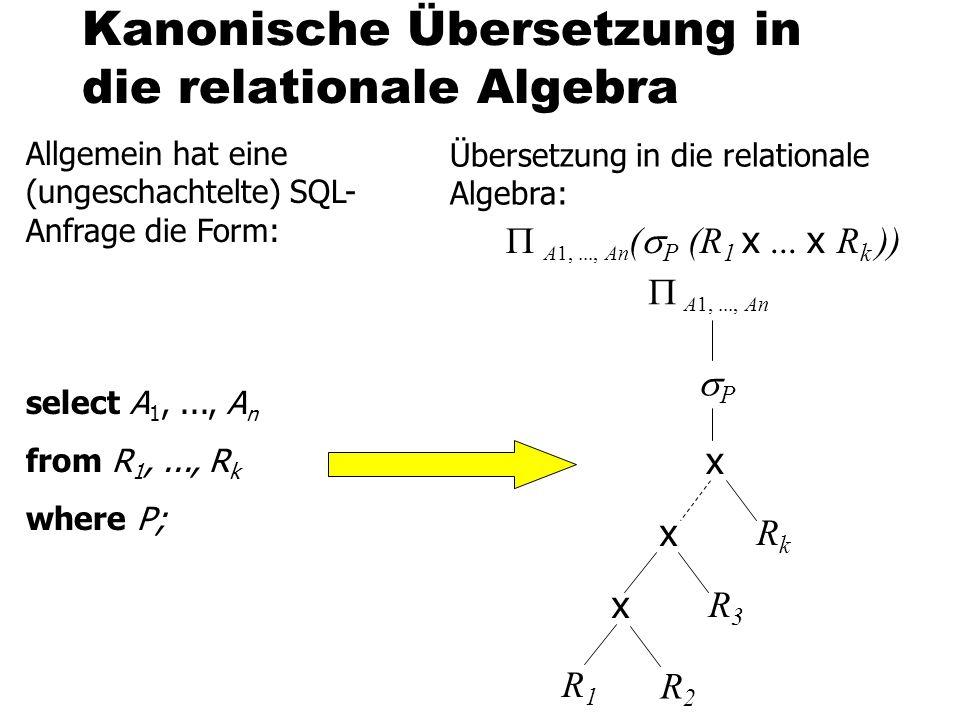Kanonische Übersetzung in die relationale Algebra