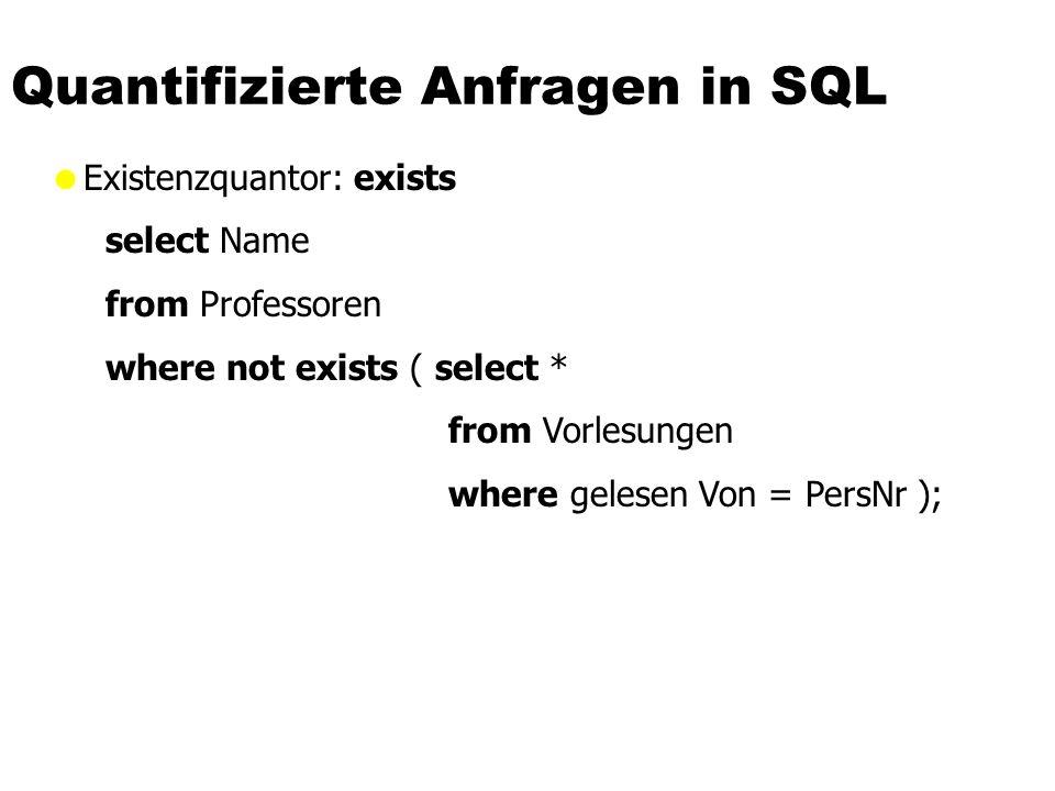 Quantifizierte Anfragen in SQL