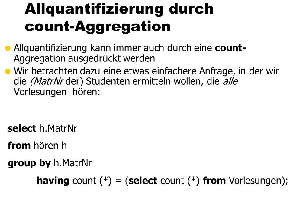 Allquantifizierung durch count-Aggregation