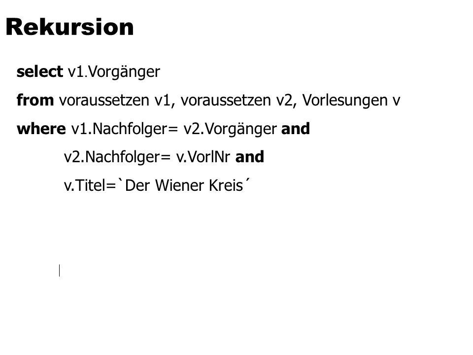 Rekursion select v1.Vorgänger