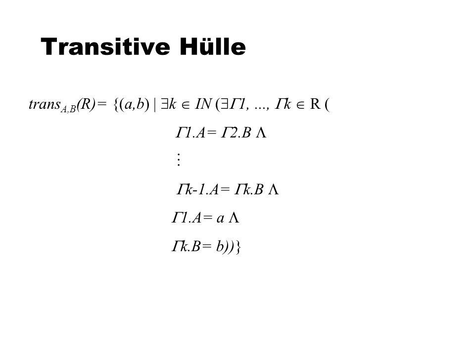 Transitive Hülle transA,B(R)= {(a,b)  k  IN (1, ..., k  R (