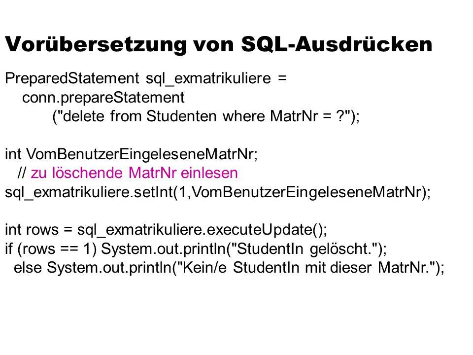 Vorübersetzung von SQL-Ausdrücken