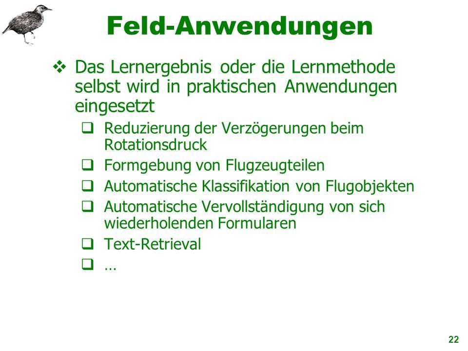 Feld-Anwendungen Das Lernergebnis oder die Lernmethode selbst wird in praktischen Anwendungen eingesetzt.