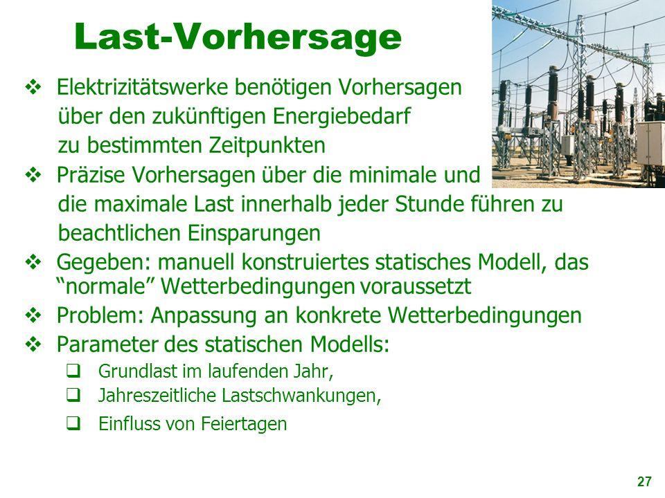 Last-Vorhersage Elektrizitätswerke benötigen Vorhersagen