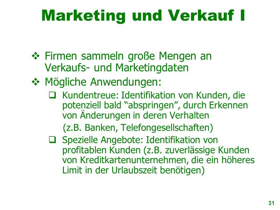 Marketing und Verkauf I