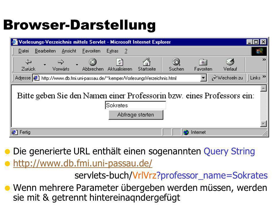 Browser-DarstellungDie generierte URL enthält einen sogenannten Query String. http://www.db.fmi.uni-passau.de/