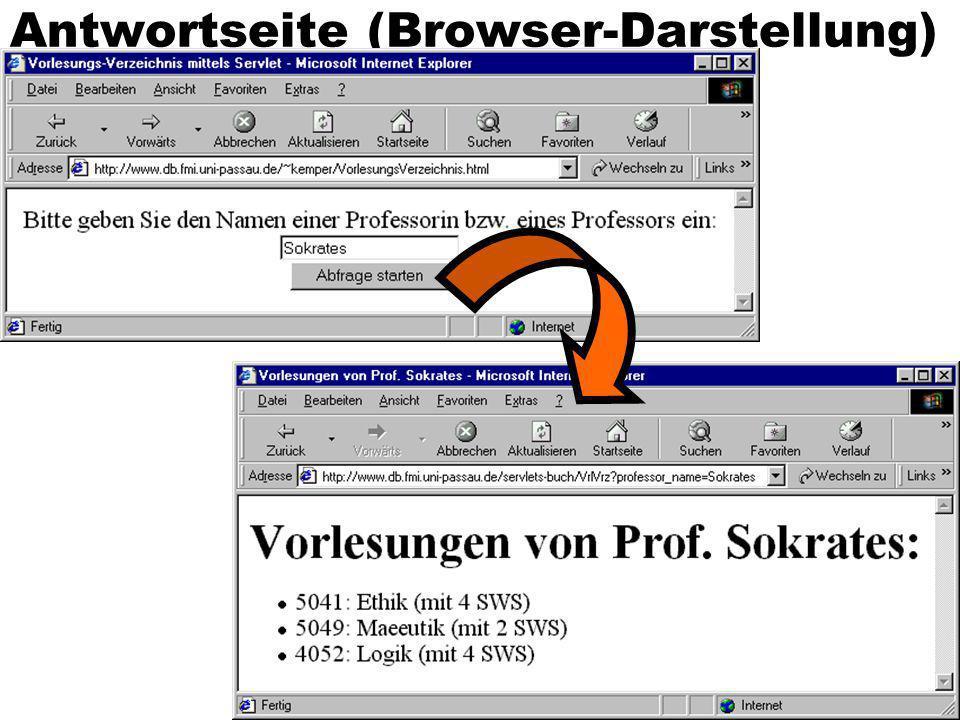 Antwortseite (Browser-Darstellung)