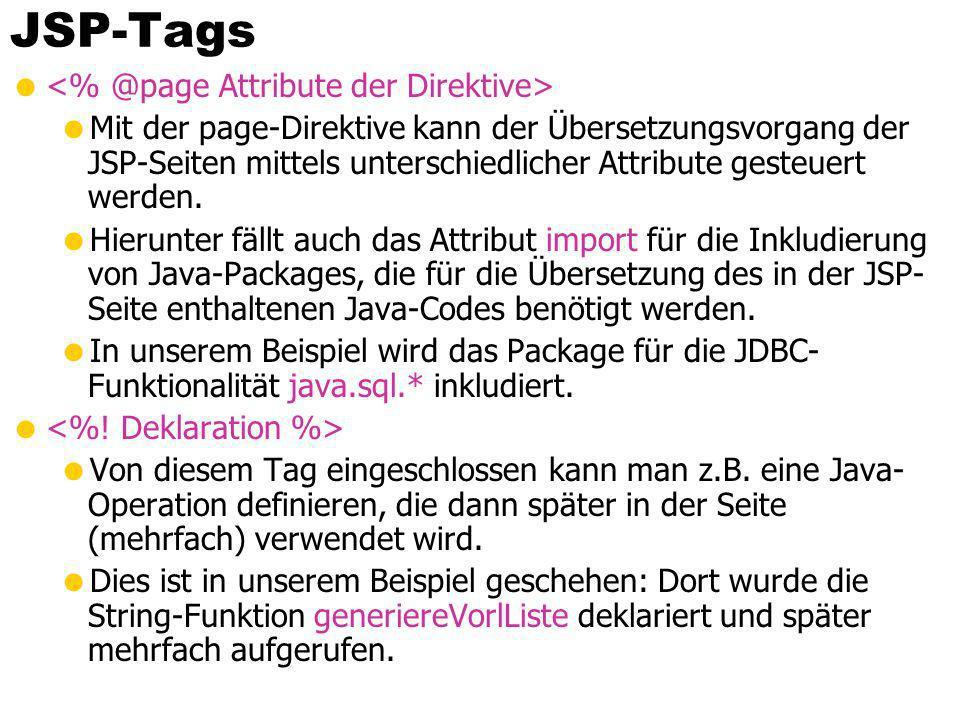JSP-Tags <% @page Attribute der Direktive>