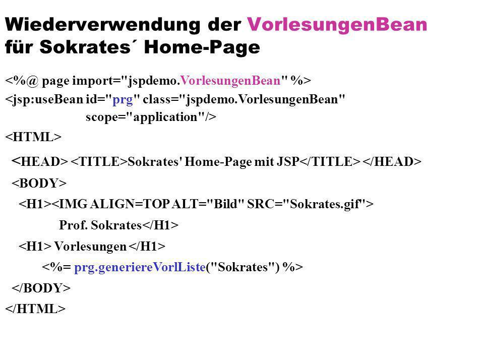 Wiederverwendung der VorlesungenBean für Sokrates´ Home-Page