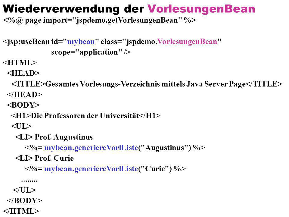 Wiederverwendung der VorlesungenBean