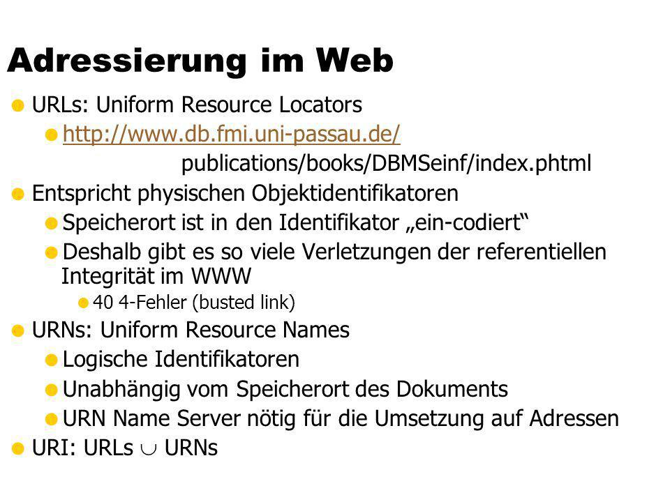 Adressierung im Web URLs: Uniform Resource Locators