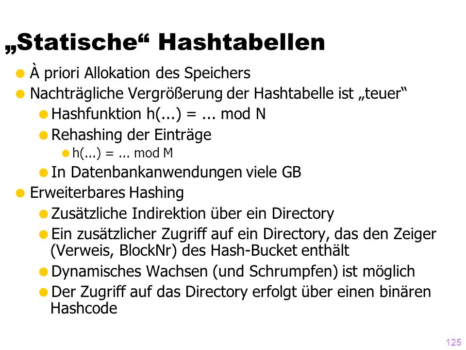 """""""Statische Hashtabellen"""