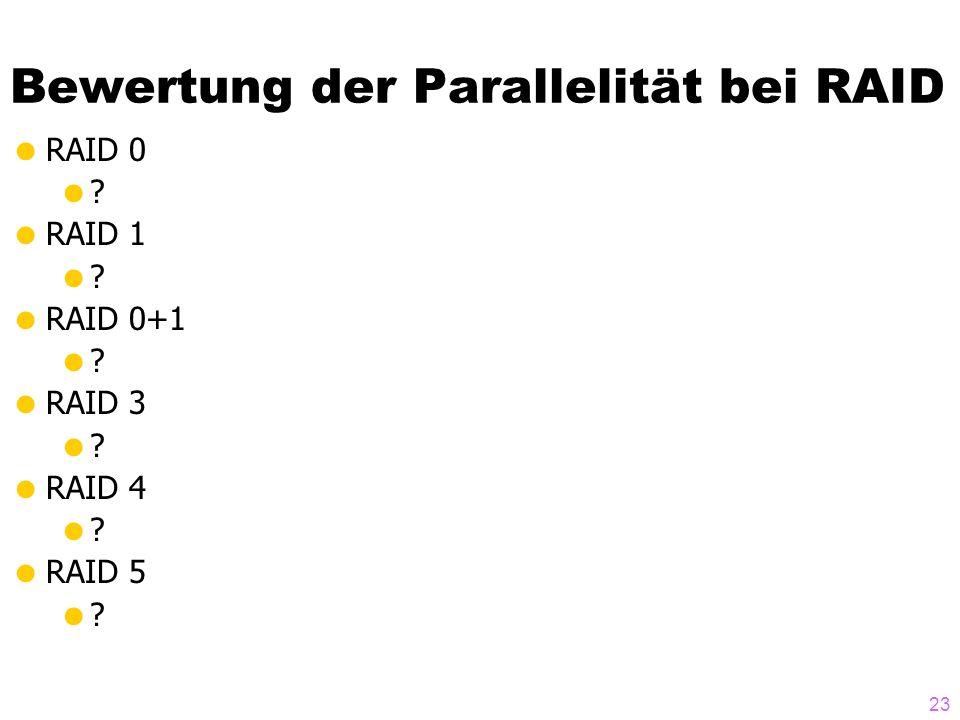 Bewertung der Parallelität bei RAID