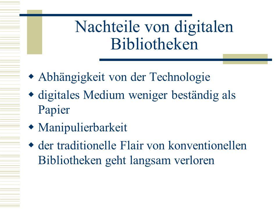 Nachteile von digitalen Bibliotheken