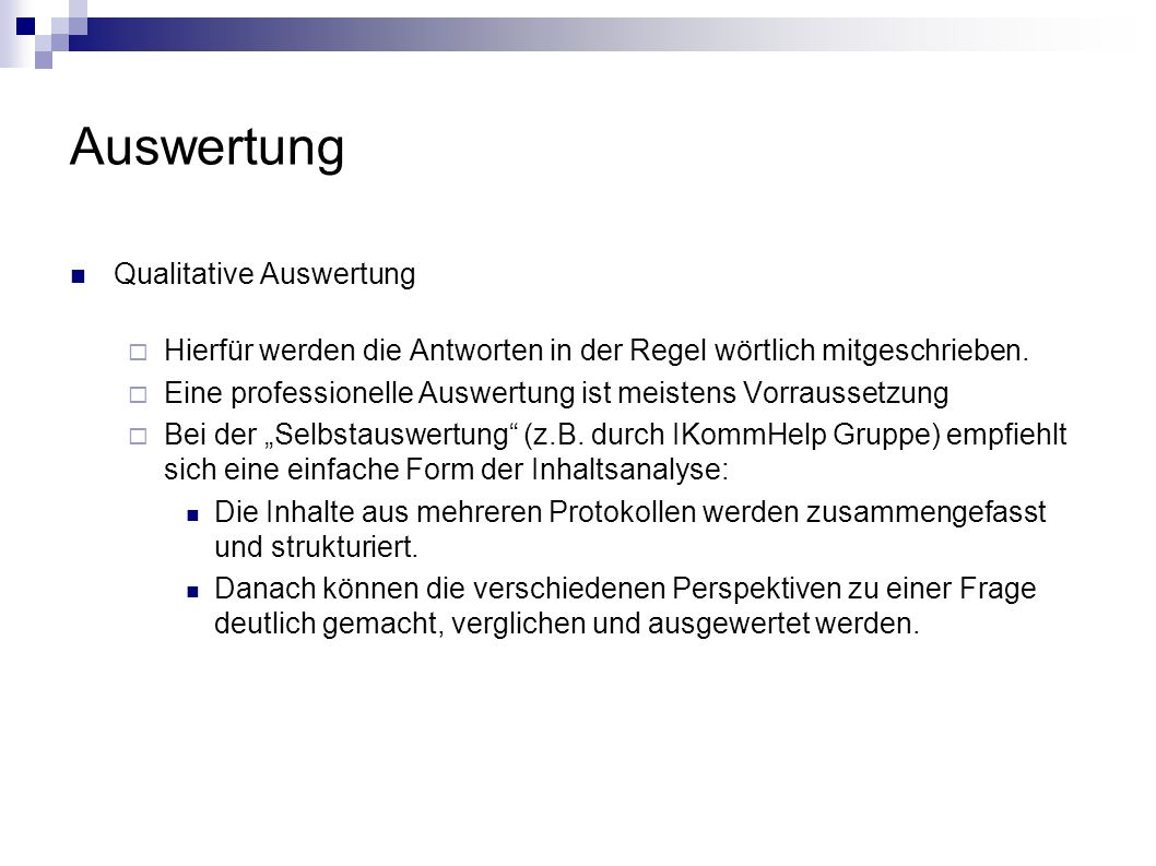 Auswertung Qualitative Auswertung