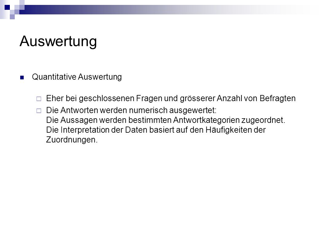 Auswertung Quantitative Auswertung