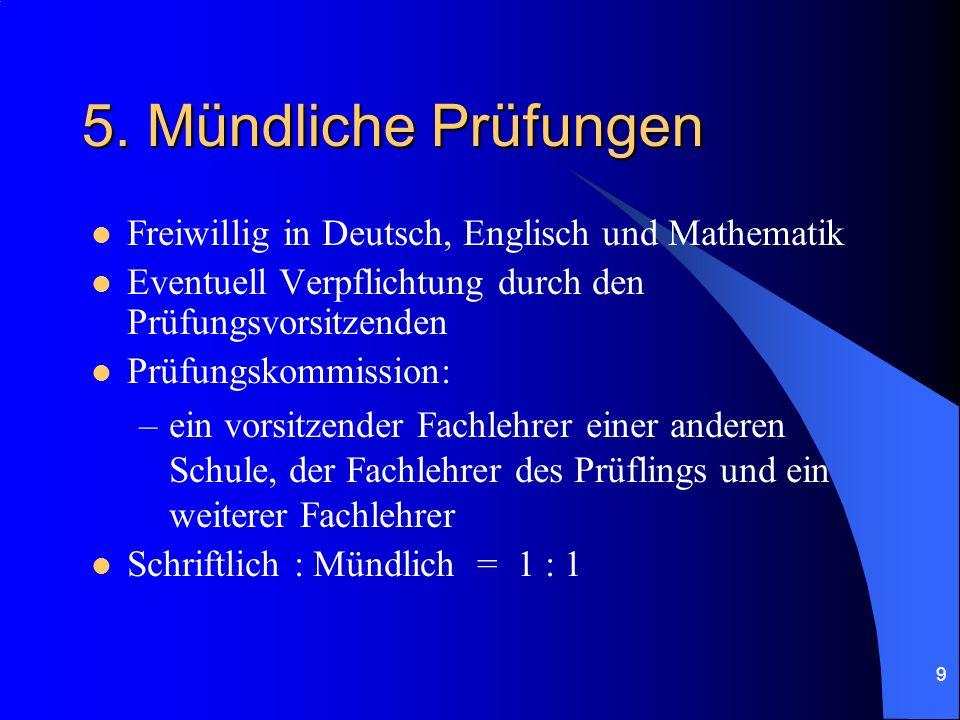 5. Mündliche Prüfungen Freiwillig in Deutsch, Englisch und Mathematik