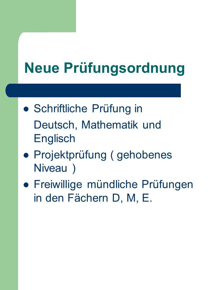 Neue Prüfungsordnung Schriftliche Prüfung in