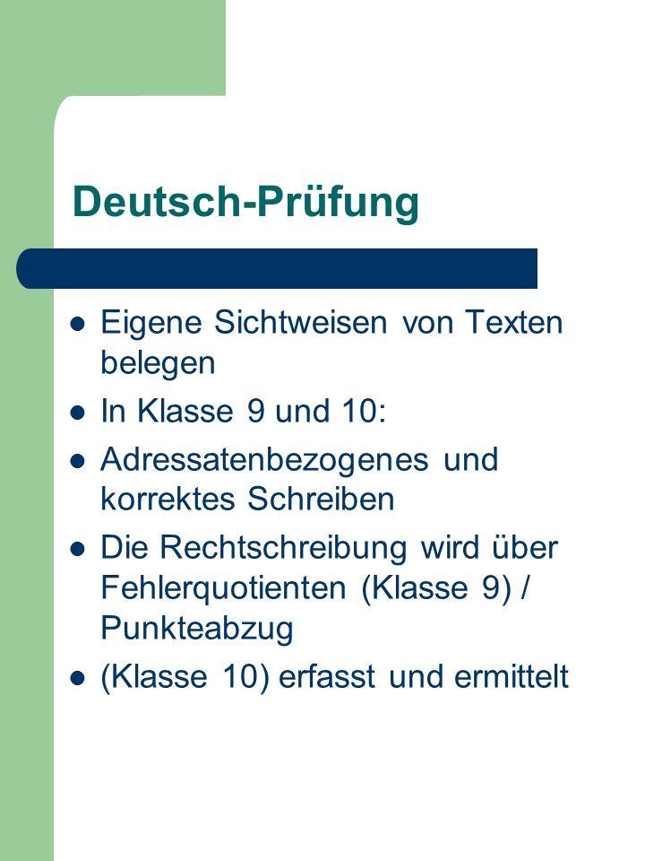 Deutsch-Prüfung Eigene Sichtweisen von Texten belegen
