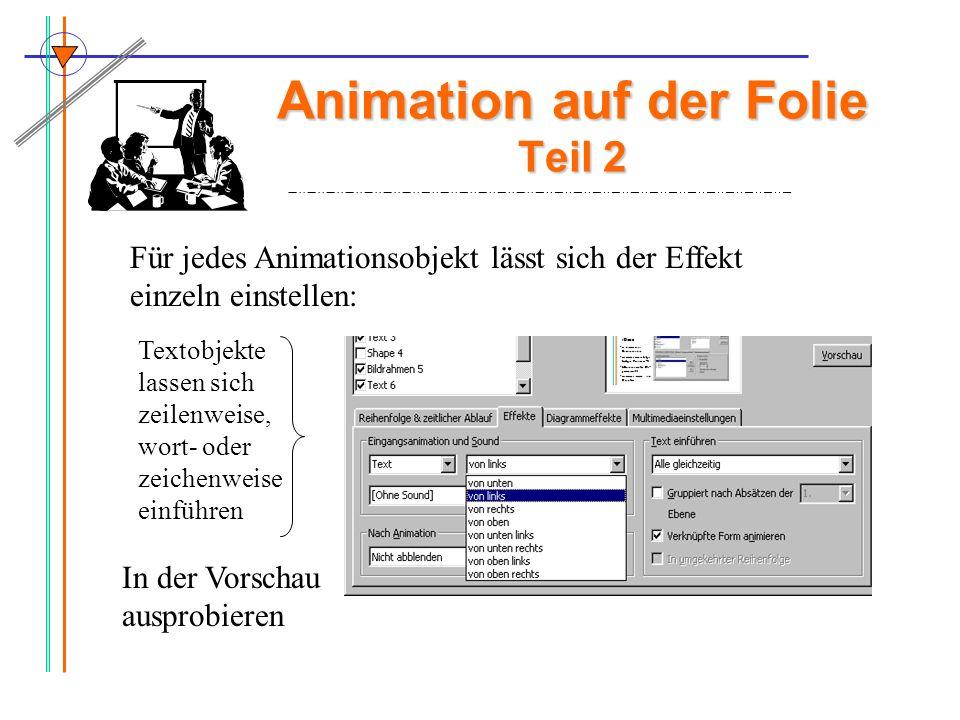 Animation auf der Folie Teil 2