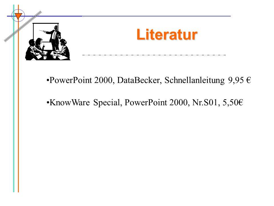 Literatur PowerPoint 2000, DataBecker, Schnellanleitung 9,95 €