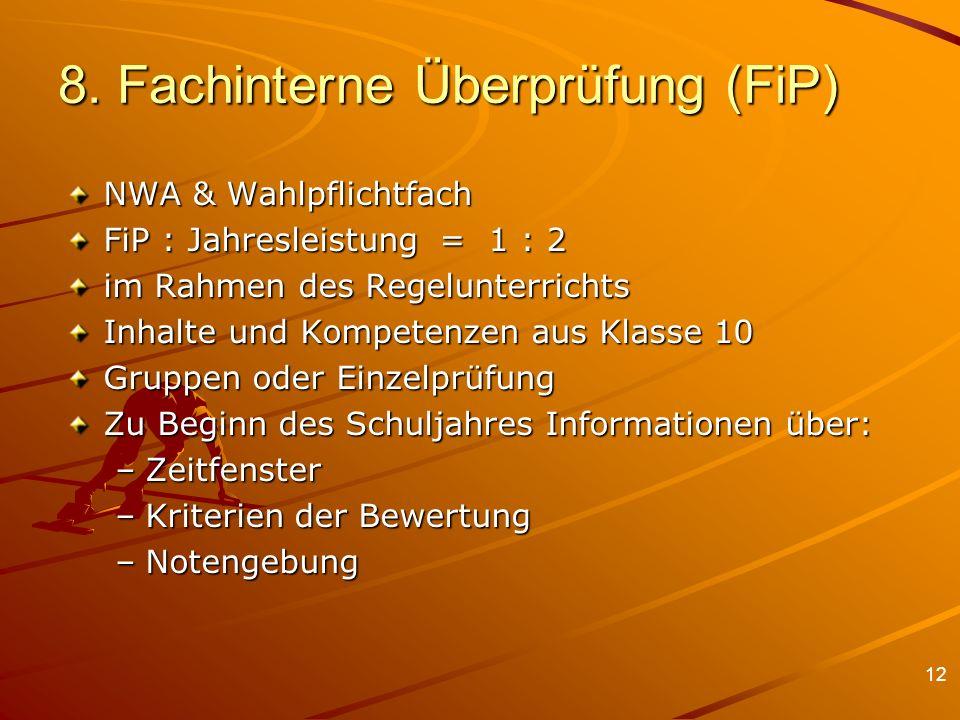 8. Fachinterne Überprüfung (FiP)