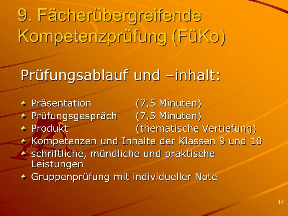9. Fächerübergreifende Kompetenzprüfung (FüKo)