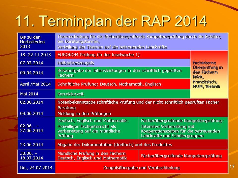 11. Terminplan der RAP 2014 Bis zu den Herbstferien 2013