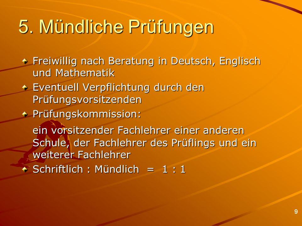 5. Mündliche Prüfungen Freiwillig nach Beratung in Deutsch, Englisch und Mathematik. Eventuell Verpflichtung durch den Prüfungsvorsitzenden.