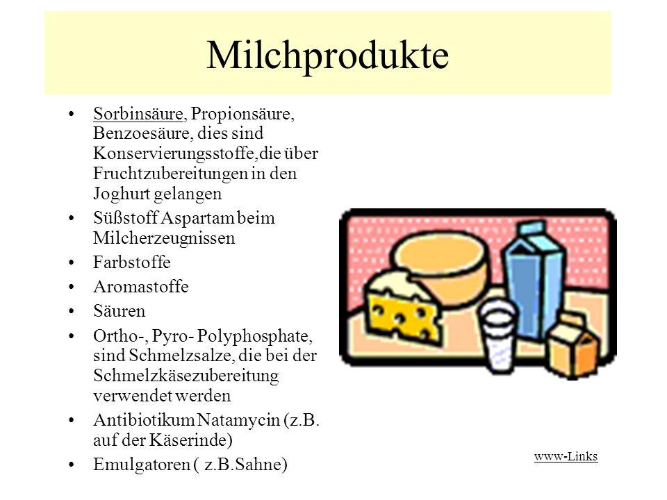 Milchprodukte Sorbinsäure, Propionsäure, Benzoesäure, dies sind Konservierungsstoffe,die über Fruchtzubereitungen in den Joghurt gelangen.