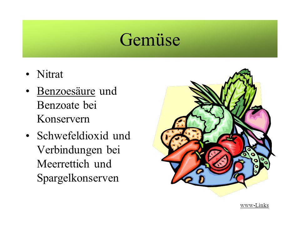 Gemüse Nitrat Benzoesäure und Benzoate bei Konservern