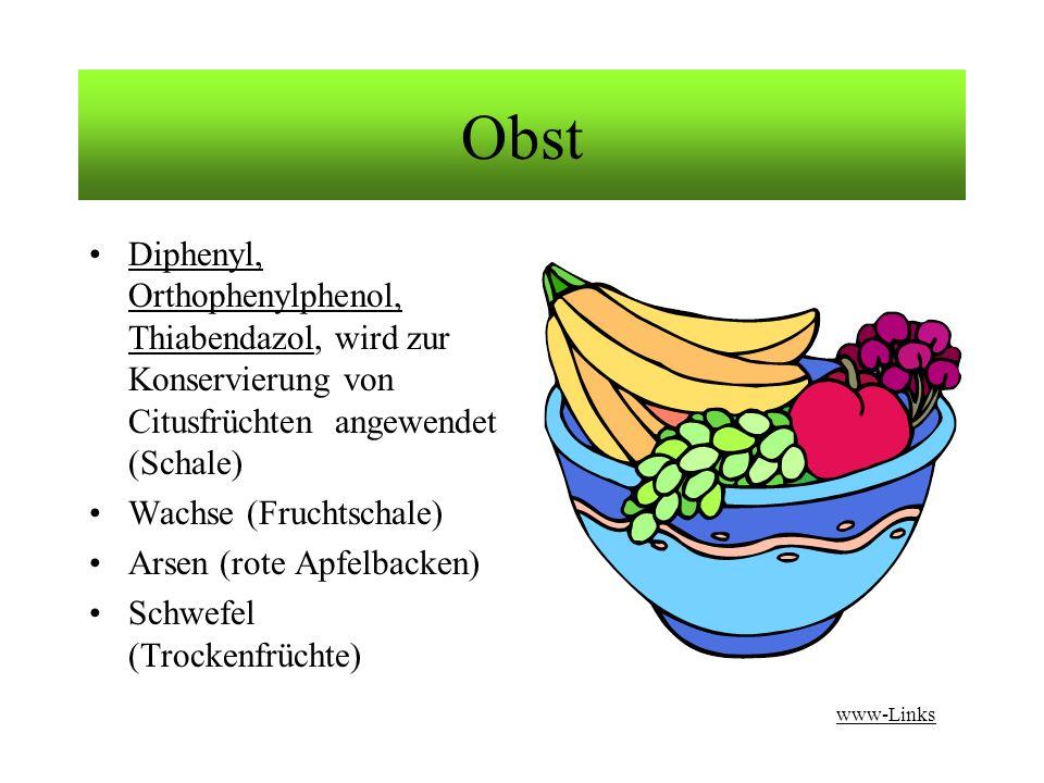 Obst Diphenyl, Orthophenylphenol, Thiabendazol, wird zur Konservierung von Citusfrüchten angewendet (Schale)
