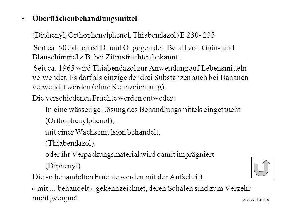 (Diphenyl, Orthophenylphenol, Thiabendazol) E 230- 233