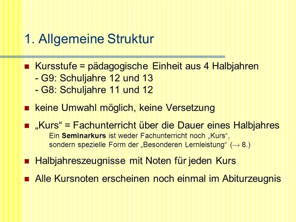 1. Allgemeine Struktur Kursstufe = pädagogische Einheit aus 4 Halbjahren - G9: Schuljahre 12 und 13 - G8: Schuljahre 11 und 12.