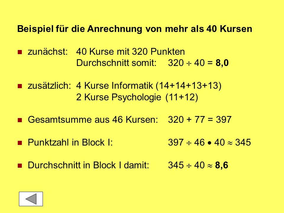 Beispiel für die Anrechnung von mehr als 40 Kursen